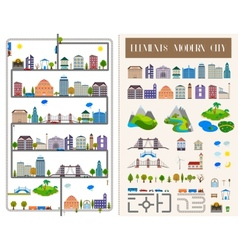 Elements of the modern city or village - stock vector