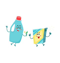 Funny detergent bottle and washing powder vector