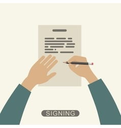 Hand signing contract vector image
