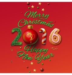 Happy new year 2016 greeting card and merry vector