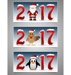 Happy new year banner set with santa claus vector