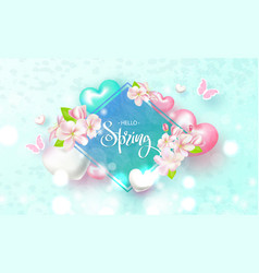 Hello spring beautiful background with flowers vector