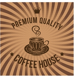 label for coffee on background with sacking vector image