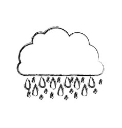 Monochrome blurred contour of cloud with rain vector