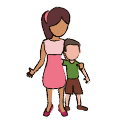 mother and son embraced vector image