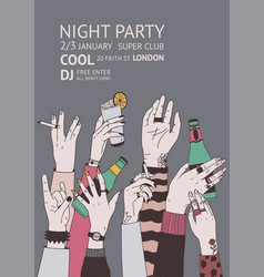 poster or night club party invitation template vector image vector image