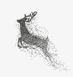 running deer black particles divergent silhouette vector image