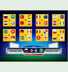 scoreboard national flag vector image