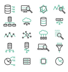 Simple set of big data database cloud computing vector