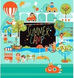 Summer Camp with Kids Landscape and Playground vector image
