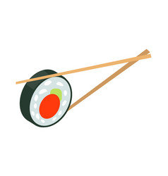 Sushi japan with two sticks isolated japanese food vector