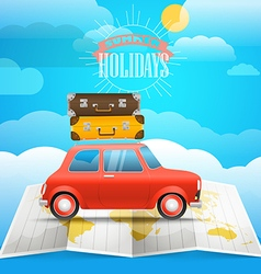 Vacation concept summer holidays with the red car vector