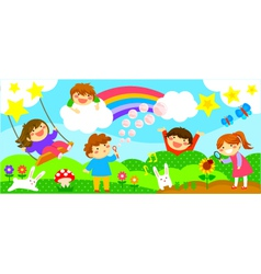 wide strip with happy kids vector image vector image
