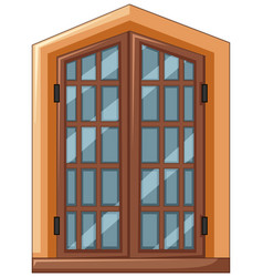 window design with wooden frame vector image