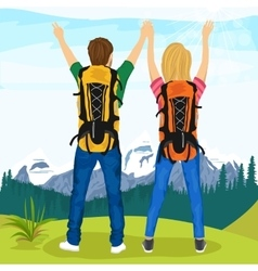 Young couple of hikers standing on top of mountain vector