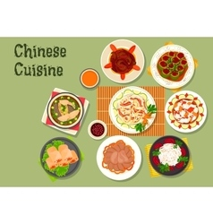 Chinese cuisine restaurant dinner dishes icon vector