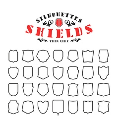 Stock set of shields silhouettes vector