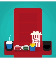 Cinema concept soda water in glass popcorn and vector