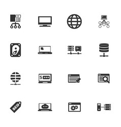 hosting provider icons set vector image