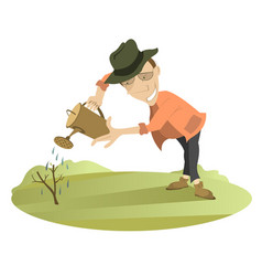Smiling man watering a tree vector