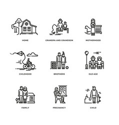 Family and parents marriage and motherhood thin vector