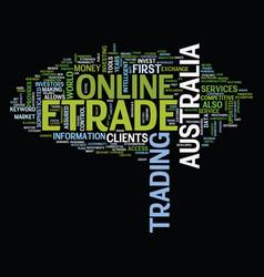 Etrade australia text background word cloud vector