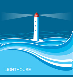Lighthousesea waves blue night background for vector