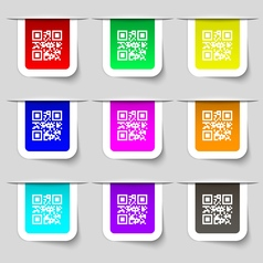 Qr code icon sign set of multicolored modern vector