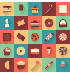 Dessert icon set collection of tasty sweets vector