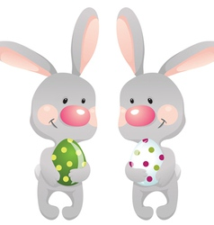 Funny rabbits with egg eps10 contains transparent vector