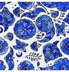 floral Gzhel seamless pattern vector image