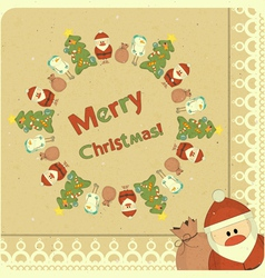 Santa Claus snowman and Christmas tree vector image