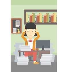 Business woman in despair sitting in office vector