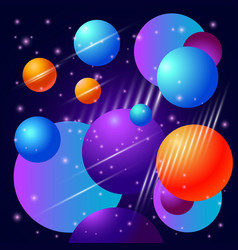 abstract beautiful background with planets and vector image