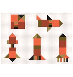 Aircraft rocket geometric shapes vector