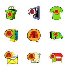 Ali express store icons set cartoon style vector