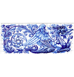 Blue dragon azulejo ceramic tile magnet souvenir vector