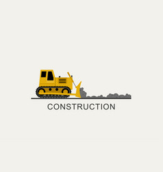 bulldozer leveled the road vector image vector image