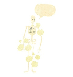 Cartoon dusty old skeleton with speech bubble vector