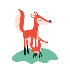 cartoon fox mom and cub over grass in colorful vector image