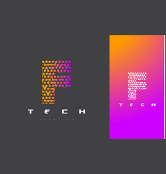 F letter logo technology connected dots letter vector