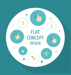 Flat icons double click down sensory and other vector