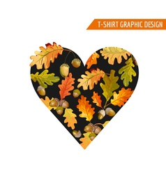 Floral Autumn Heart Graphic Design - for T-shirt vector image vector image