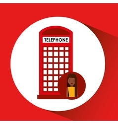 Girl cartoon travel london box red telephone vector