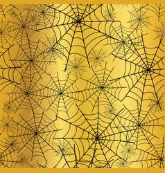 Gold black spiderweb halloween seamless vector