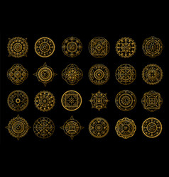 Golden mandalas on black background boho style vector