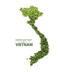 Green leaf map of vietnam vector