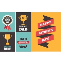 Happy fathers day greeting cards set vector image
