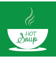 Hot soup in a bowl vector