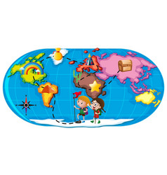 kids exploring the world vector image vector image